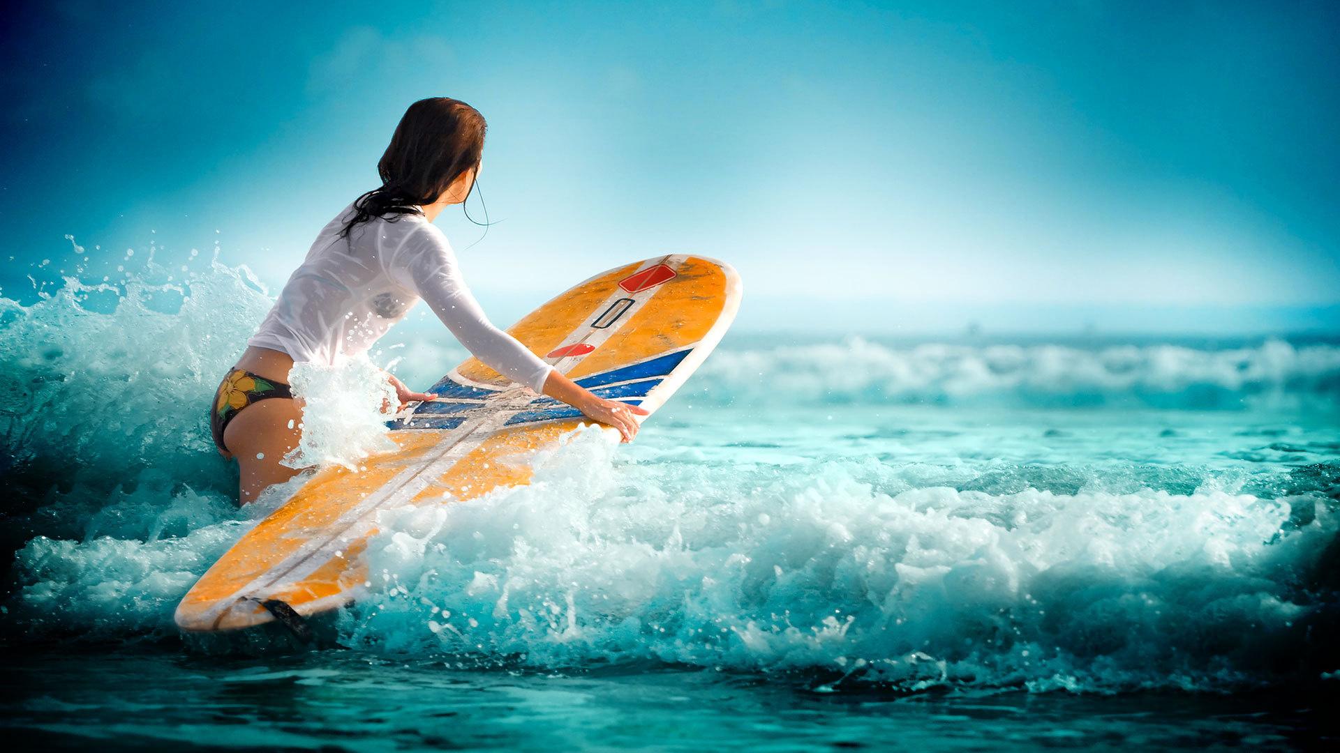 Surfing waves water sea girl wallpaper 1920x1080 117562 1920x1080