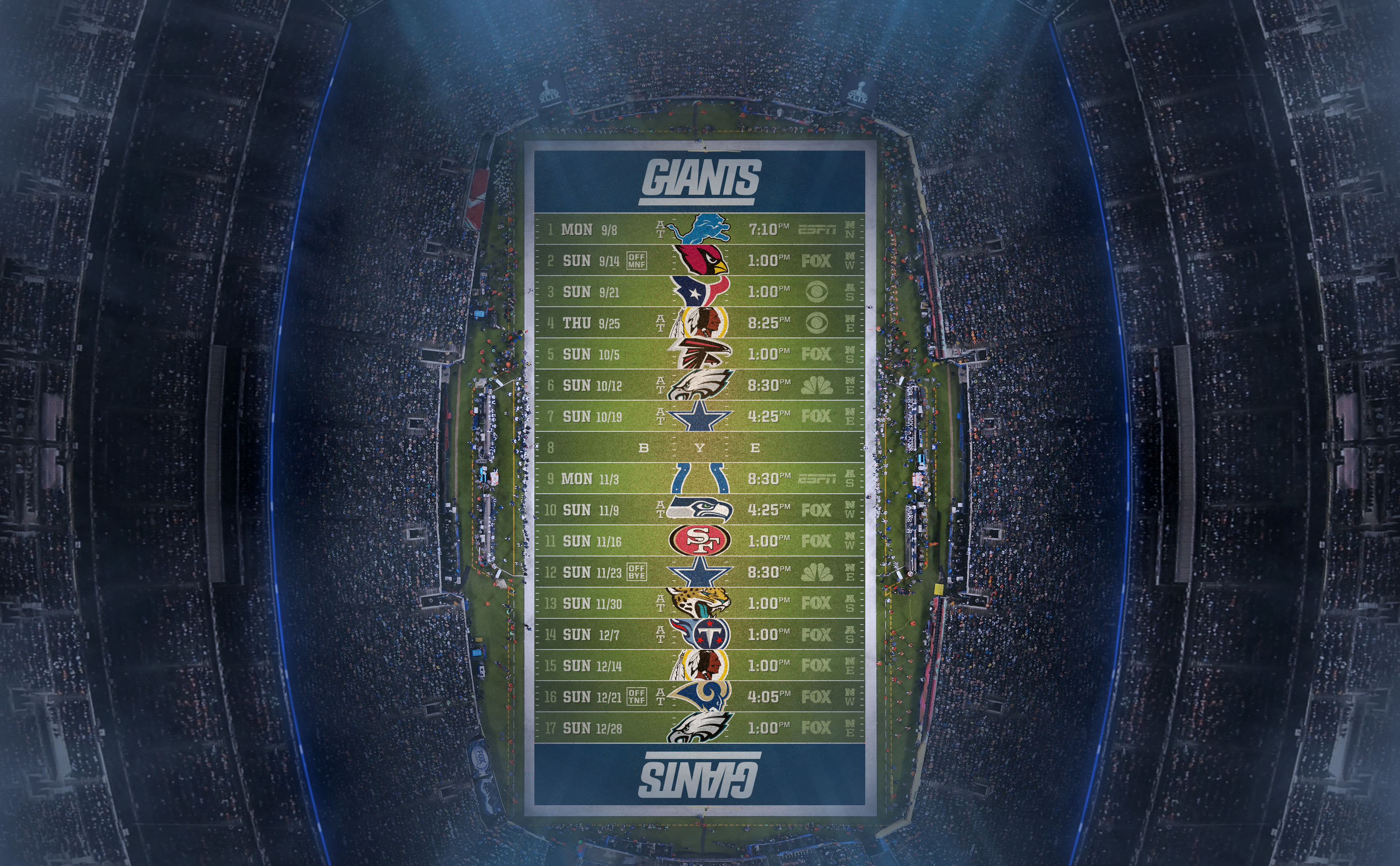 Free Download New York Giants Customized Schedule 3414x2112 For