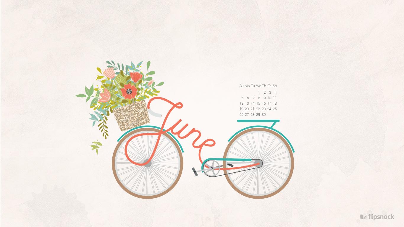 June 2016 calendar wallpaper desktop background 1366x768