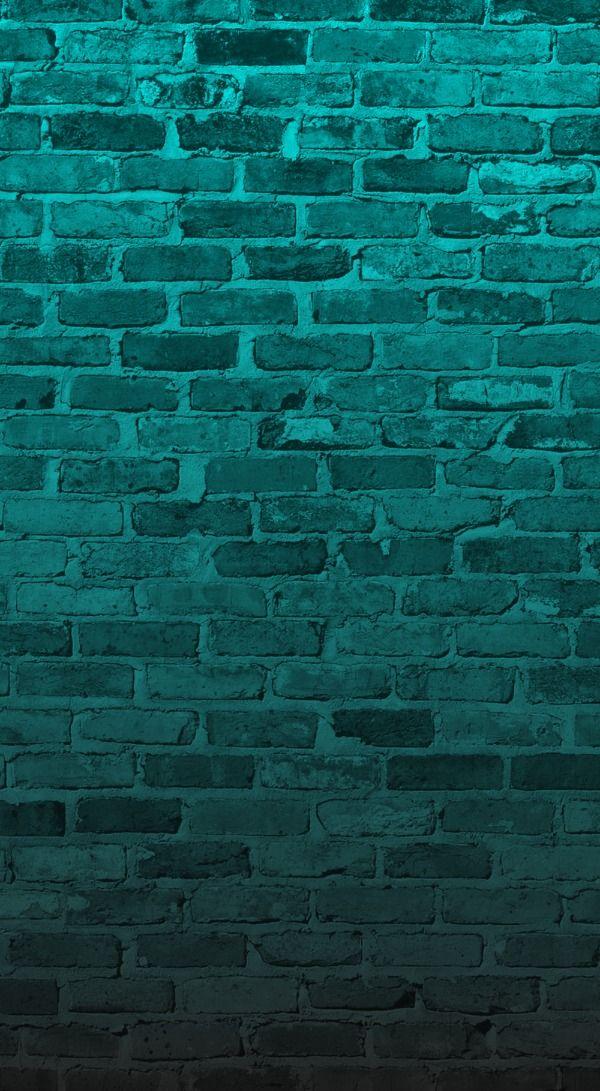 Aqua turquoise Teal green brick wall iphone wallpaper background 600x1091
