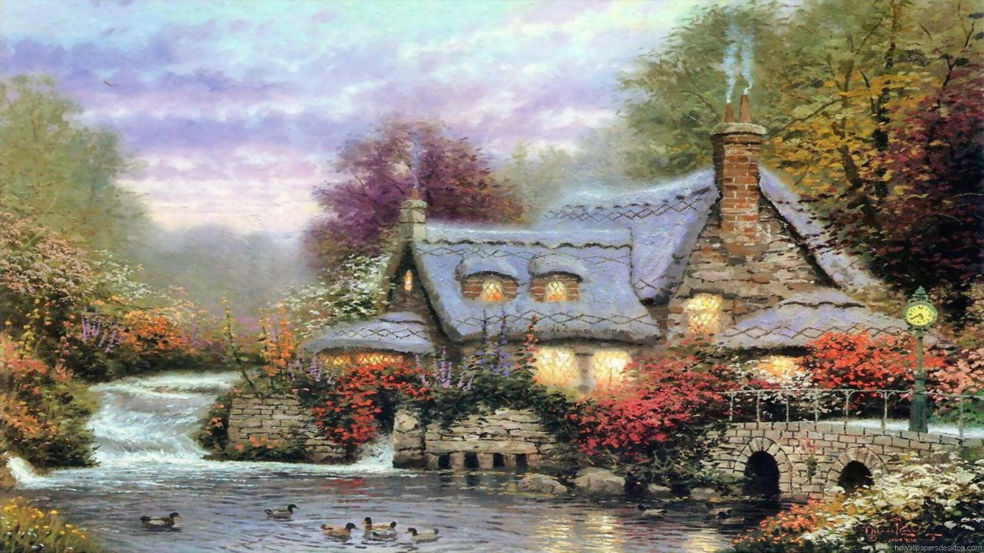 Thomas Kinkade Wallpaper Paintings Art HD Desktop Thomas Kinkade 1920x1080