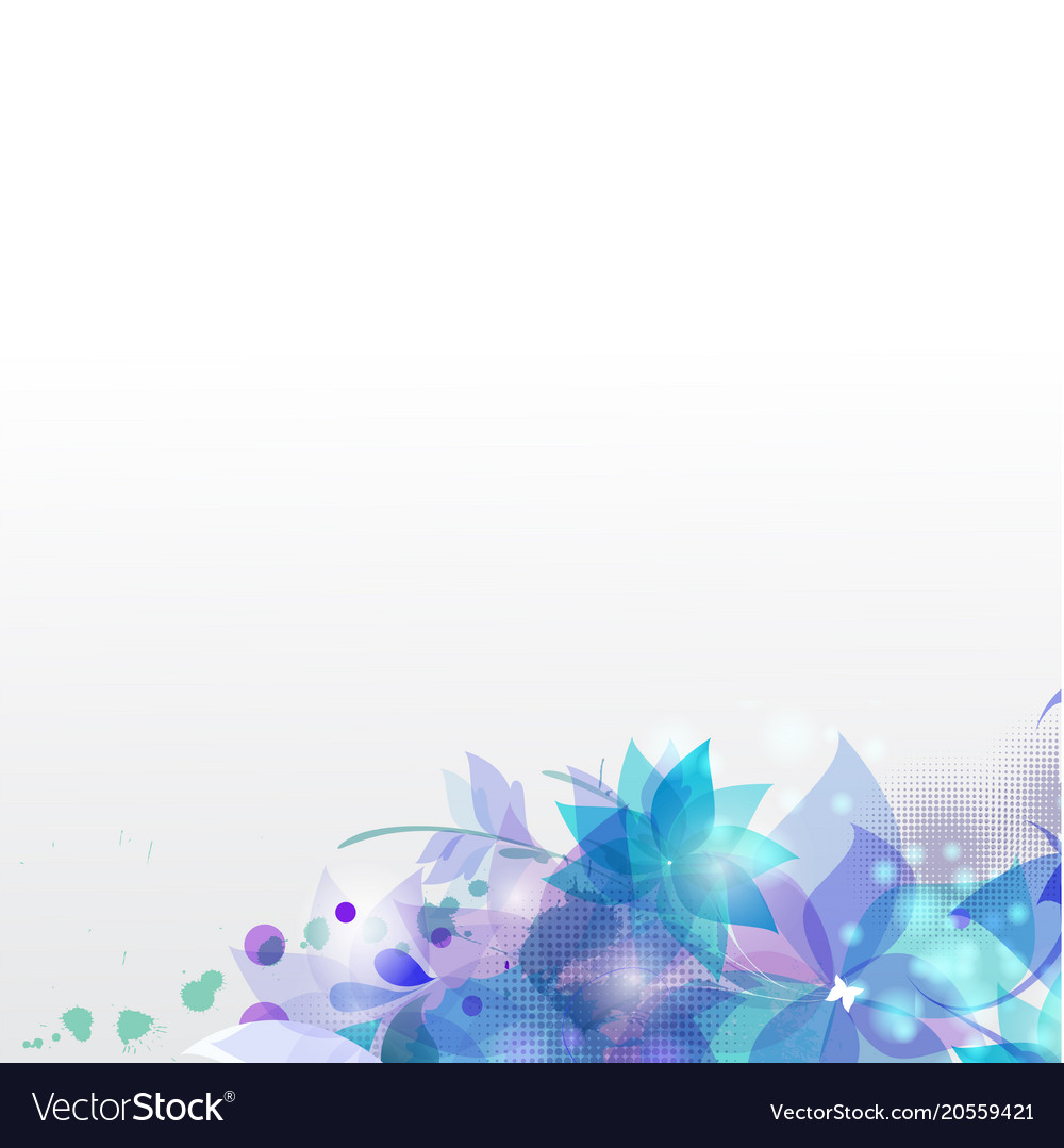 Abstract blue flowers white background imag Vector Image 1000x1079