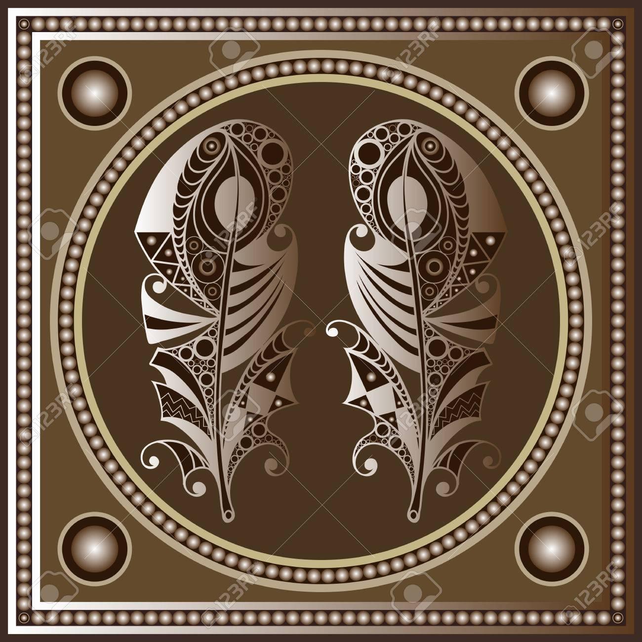 Maya Art Boho Pattern With Feathers Ethnic Geometric Print 1300x1300