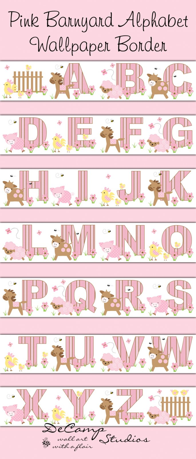 Pink Barnyard Farm Animals Alphabet Wallpaper Wall Border  small [428 685x1600