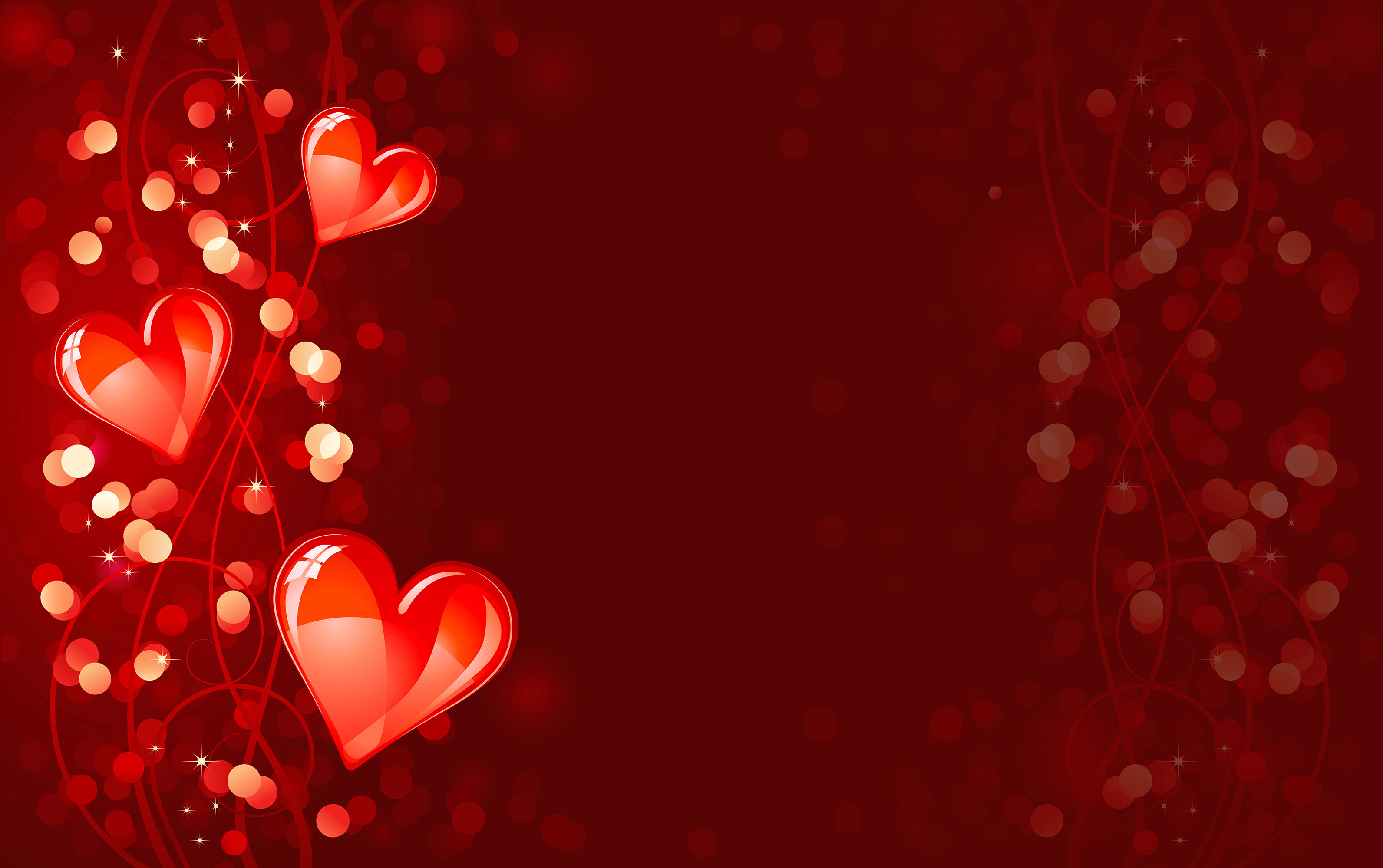 Valentines Day 2013 Red Background with Hearts Illustartion 3185x2000