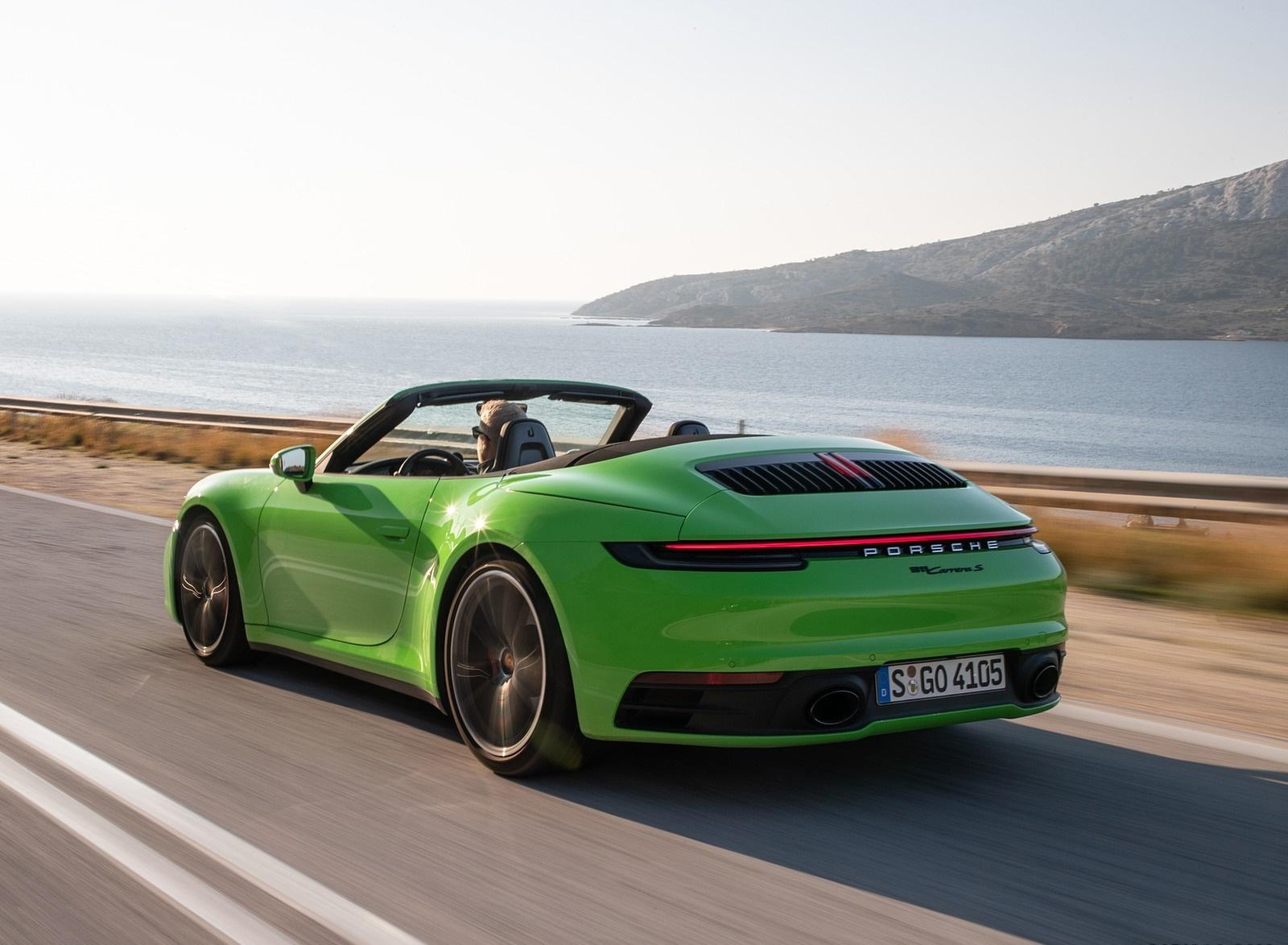 2020 Porsche 911 Carrera S Cabriolet Color Lizard Green Rear 1600x1174