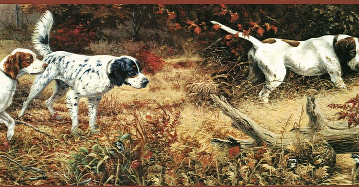 Hunting Bird Dogs Spaniels Wallpaper Border 736x384