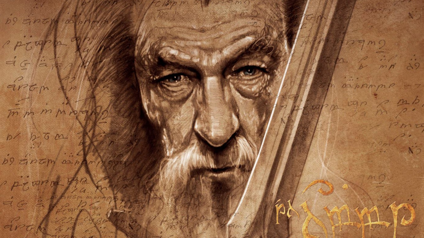 1366x768 The Hobbit Gandalf Artwork desktop PC and Mac wallpaper 1366x768