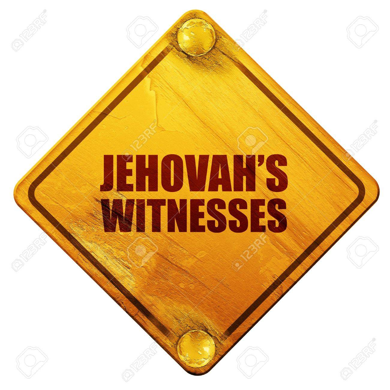 Jehovahs Witnesses 3D Rendering Yellow Road Sign On A White 1300x1300