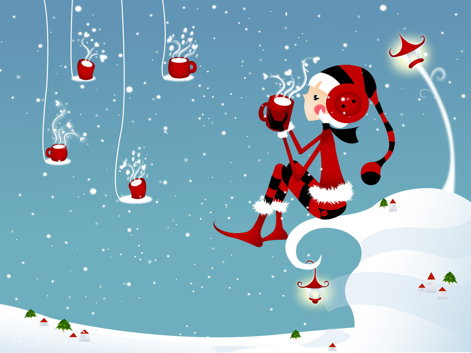 Girl with a cup of tea on Christmas wallpapers and images   wallpapers 1600x1200