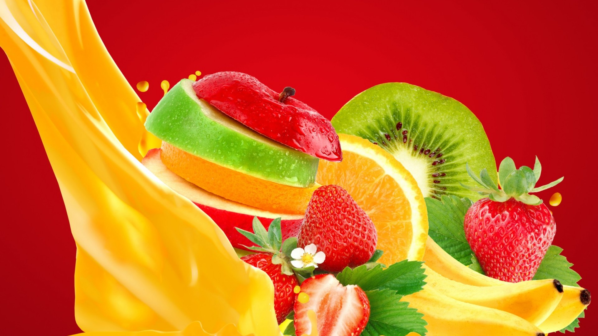 Wallpaper apple banana strawberry orange juice Food 812 1920x1080
