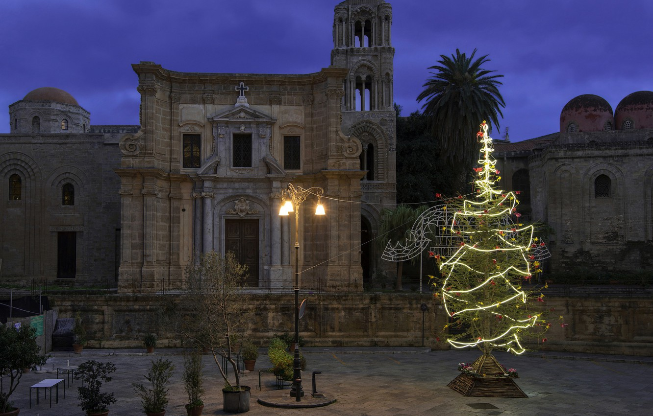 Wallpaper lights holiday tree New Year Christmas Italy 1332x850