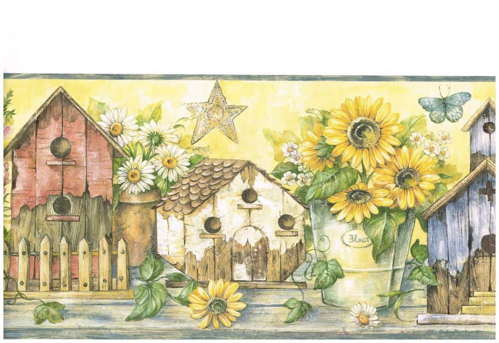 Free Download Country Birdhouses And Sunflowers Wallpaper Border