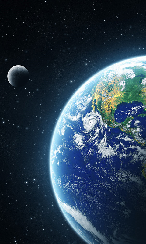 samsung galaxy s 2 ii I9100 480x800 mobile wallpapers earth moon 480x800