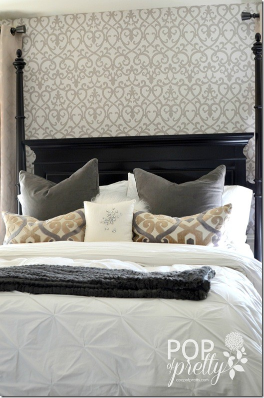 Wallpaper Accent Wall in the Bedroom Reveal   A Pop of Pretty Blog 529x796