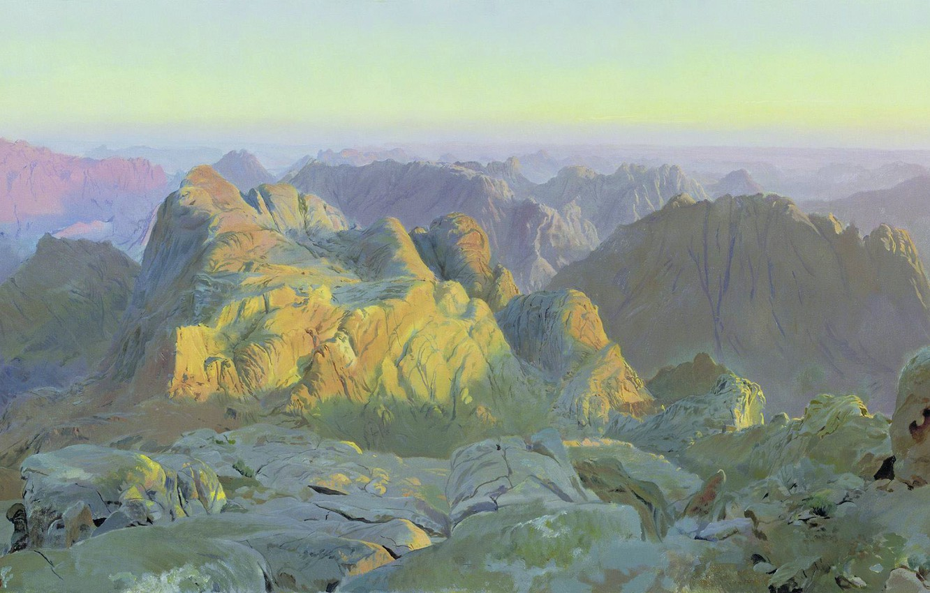 Wallpaper oil Canvas Dmitry BULYKIN b 1962 Sunrise on Sinai 1332x850
