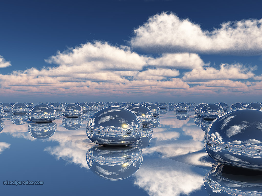 Mercury beads clouds rain balls drips drops 3d wallpaper 1024x768