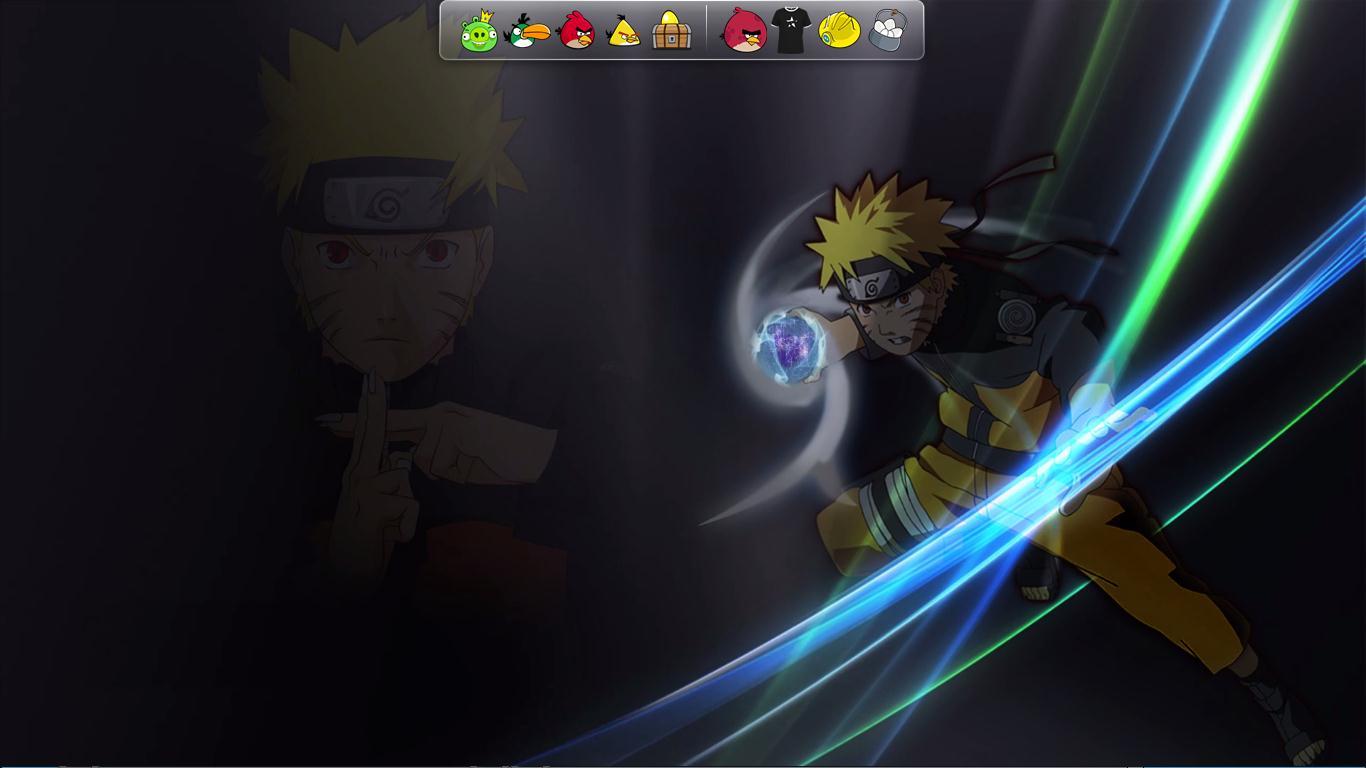 tampilan desktop saya pada kasus ini Rasengan naruto yang bergerak 1366x768