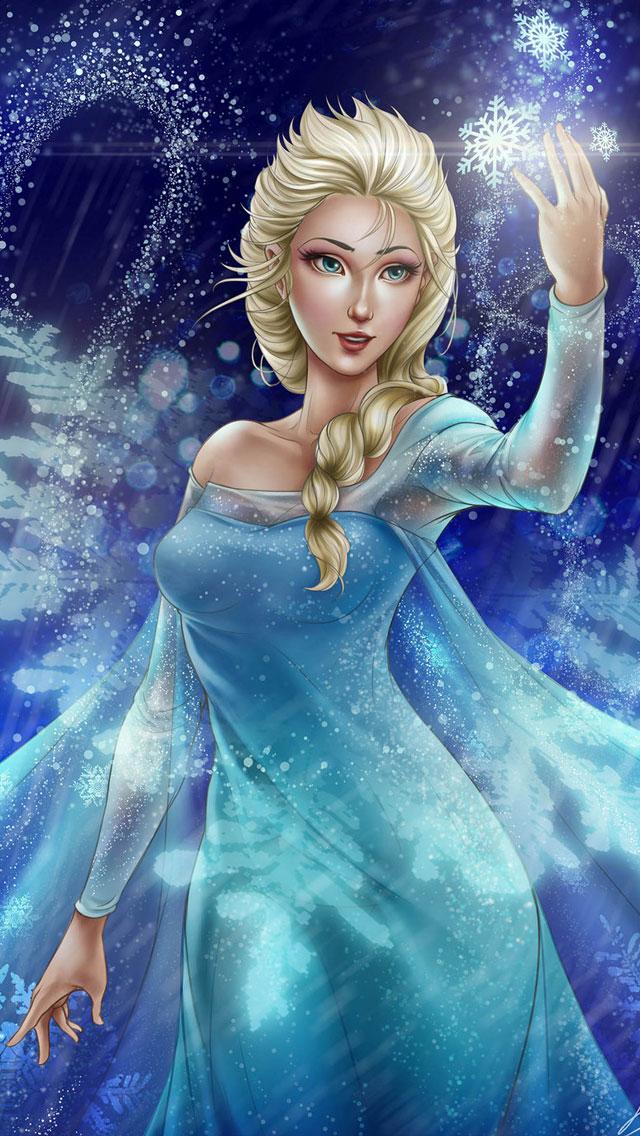 Frozen Elsa Anna Digital Fan Art Wallpapers 640x1136