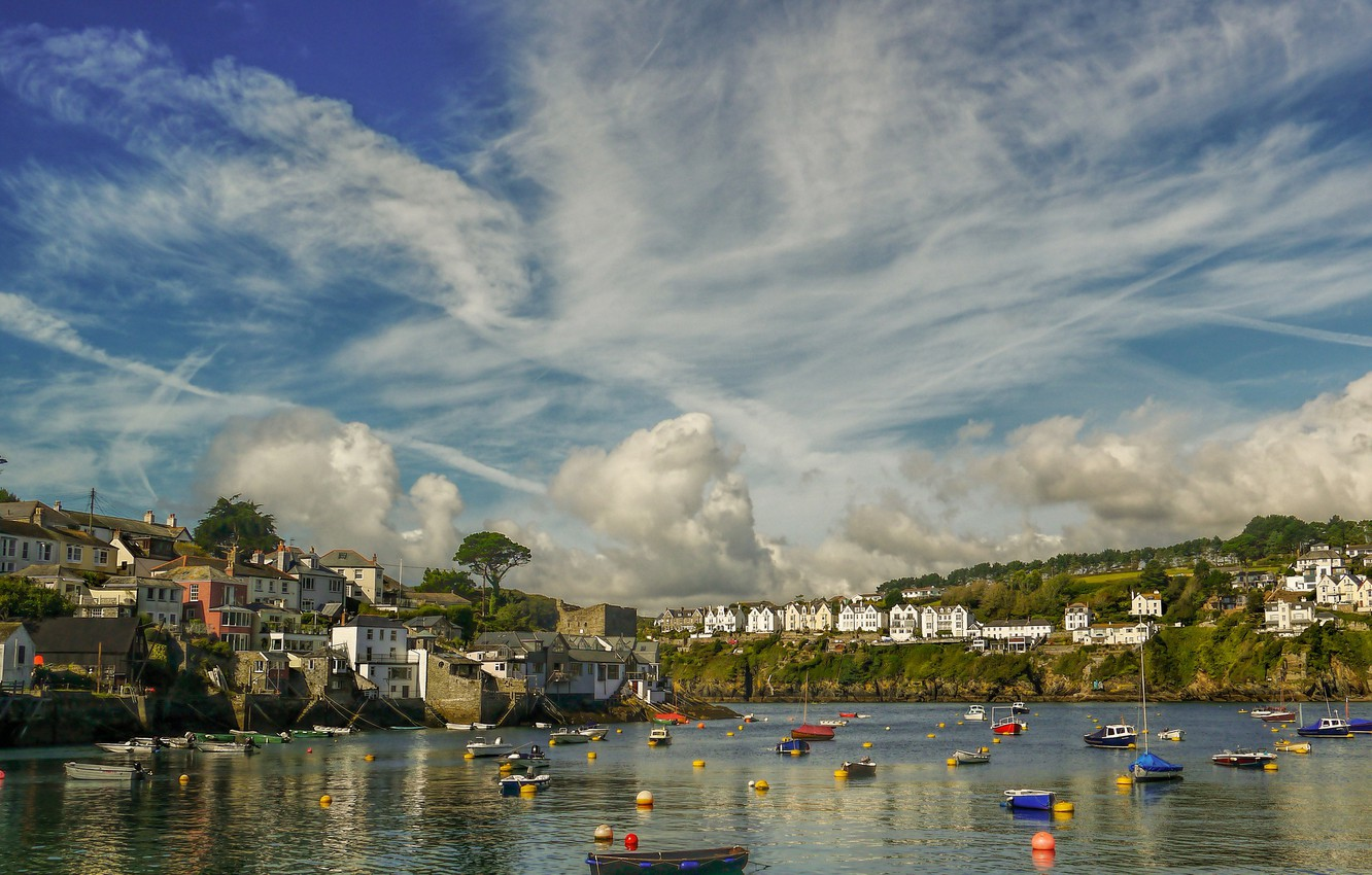 Wallpaper England home boats harbour Cornwall Fowey images 1332x850