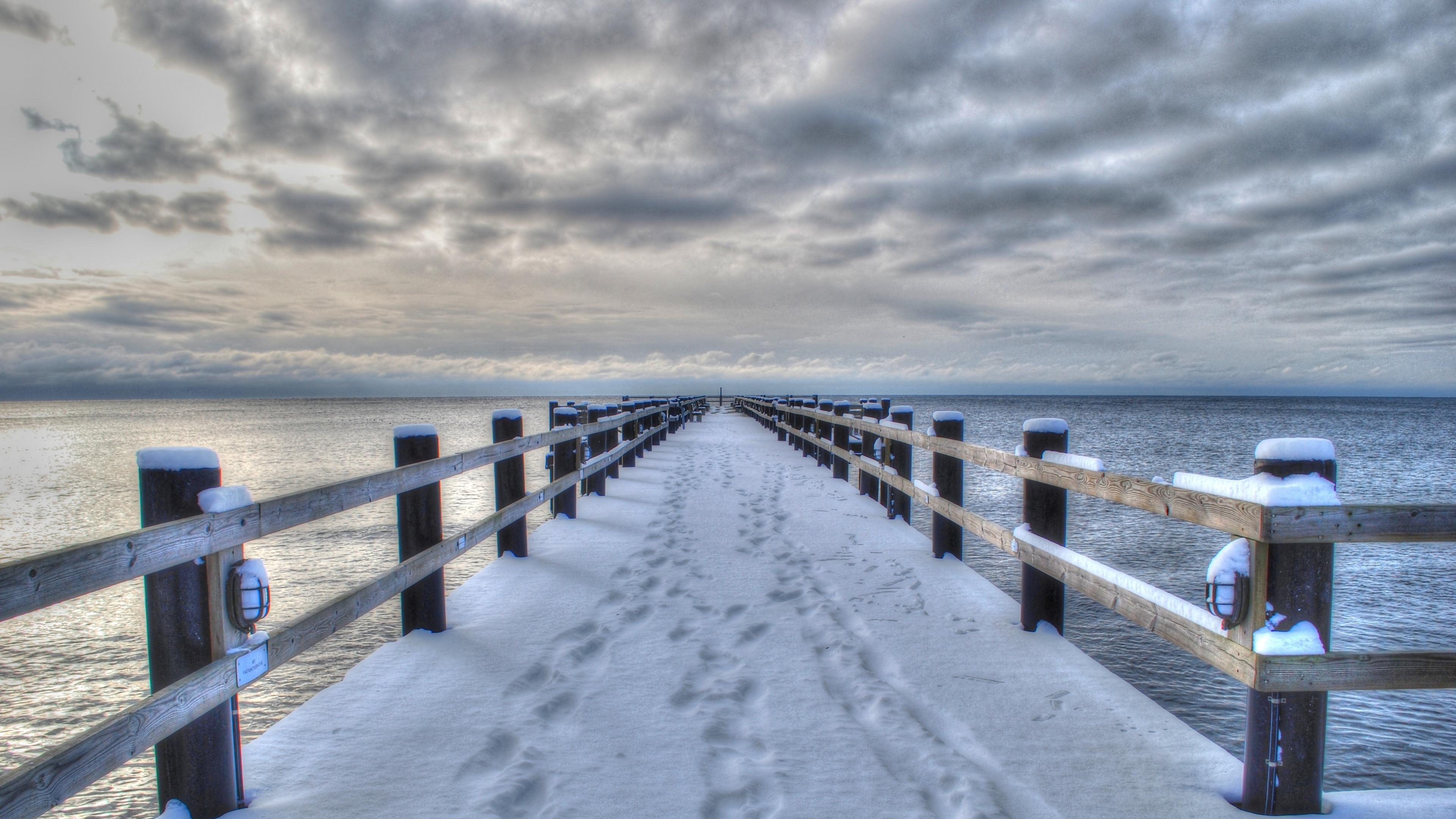 Wallpaper 38402160 sea winter bridge landscape 4K Ultra HD HD 3840x2160