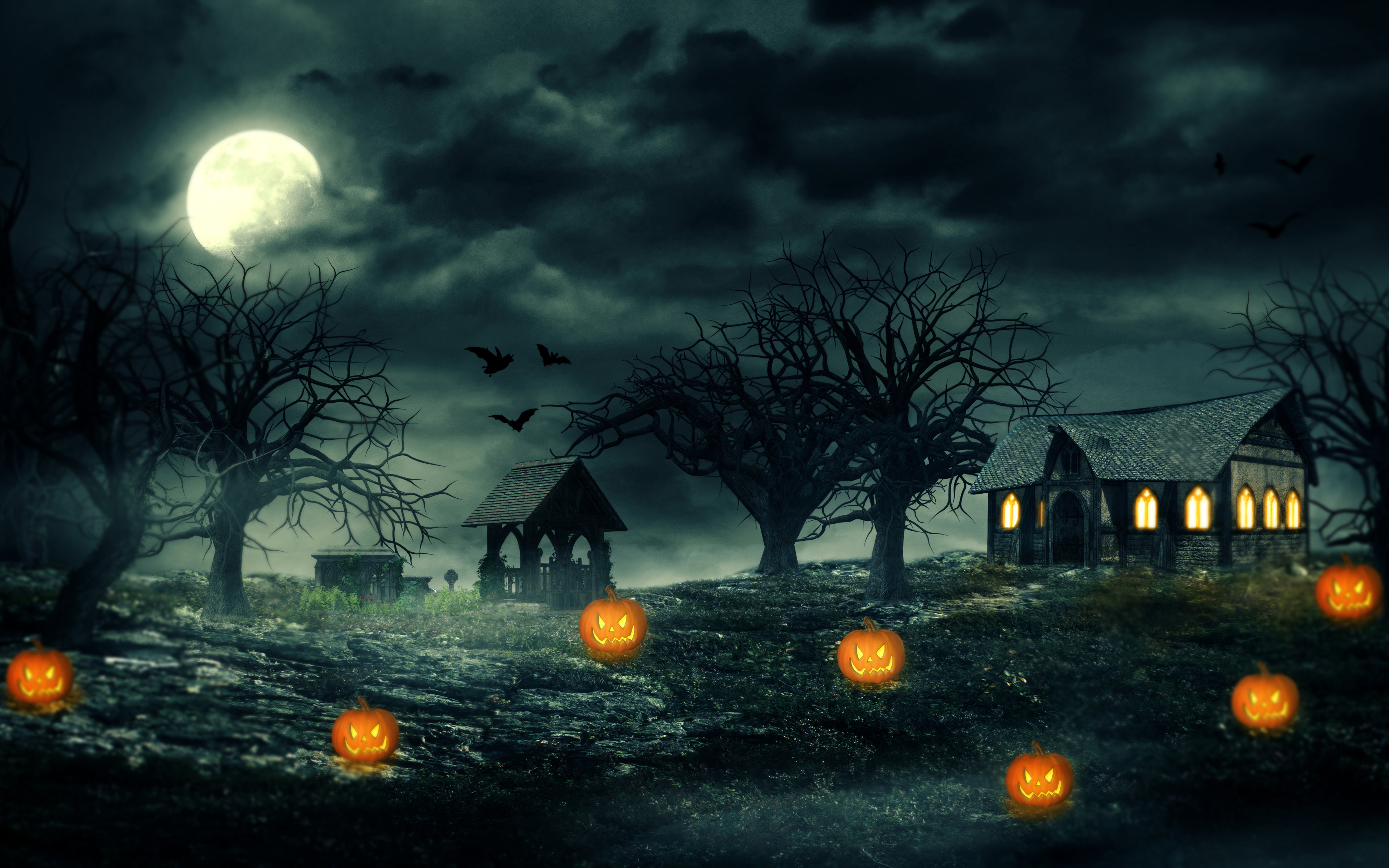 Pumpkin Halloween HD Wallpaper 3840x2400