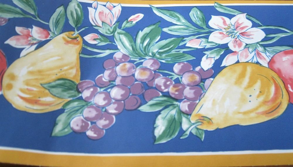 Flower Fruit Orange Trim Blue Wall Wallpaper Border EH99899 eBay 1000x570