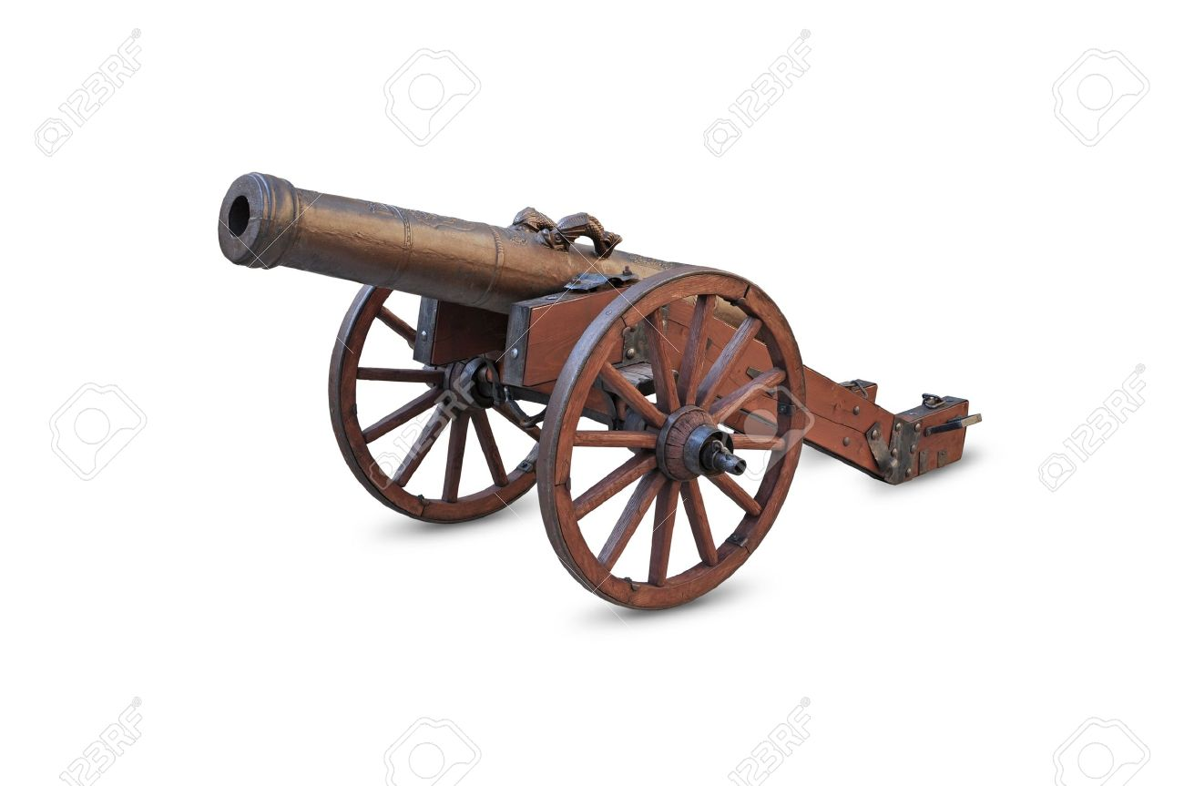 Ancient Cannon On Wheels Isolated On White Background Stock Photo 1300x863