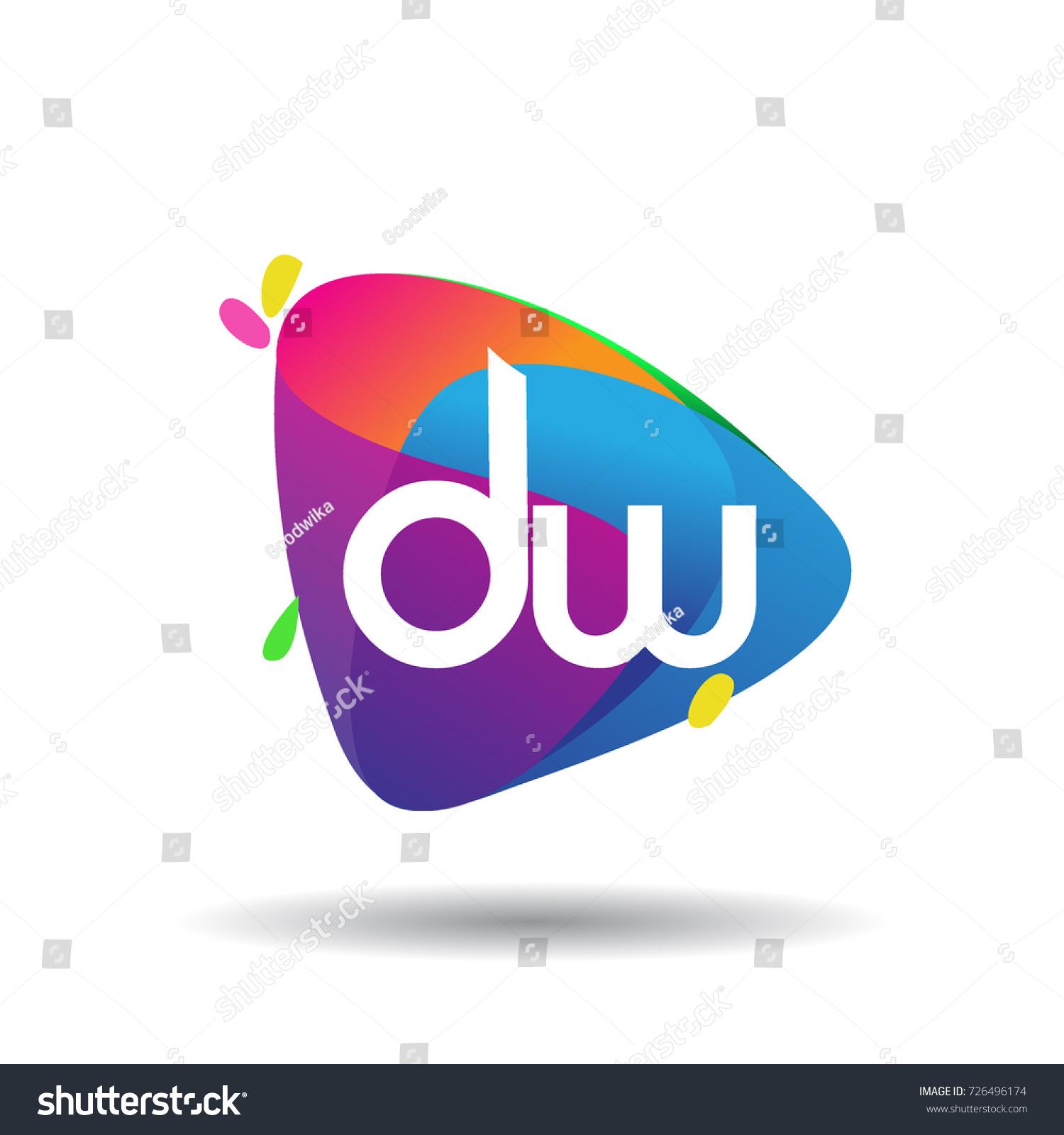 Letter Dw Logo Colorful Splash Background Stock Vector Royalty 1500x1600