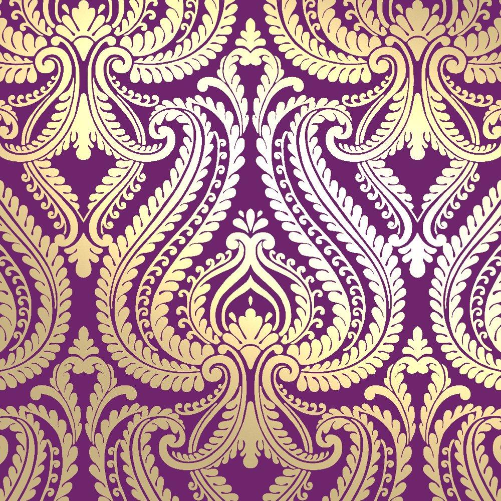 Love Wallpaper Shimmer Damask Metallic Wallpaper Purple Gold 1000x1000