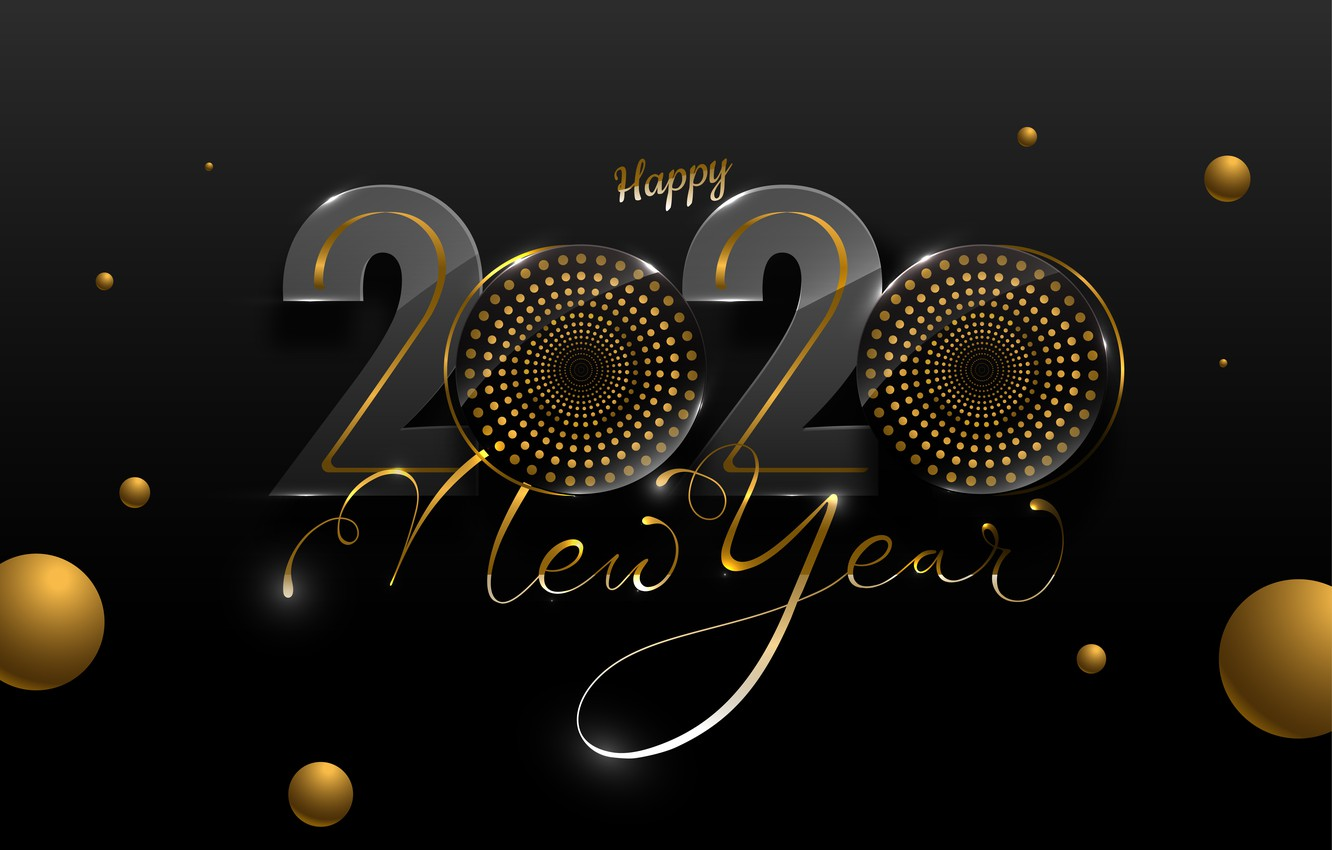 Wallpaper background black Background Happy New year 2020 1332x850