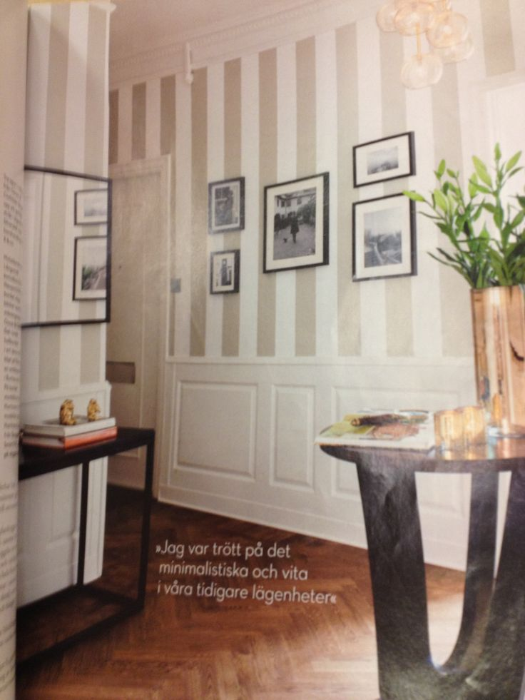 Striped wallpaper with wainscot
