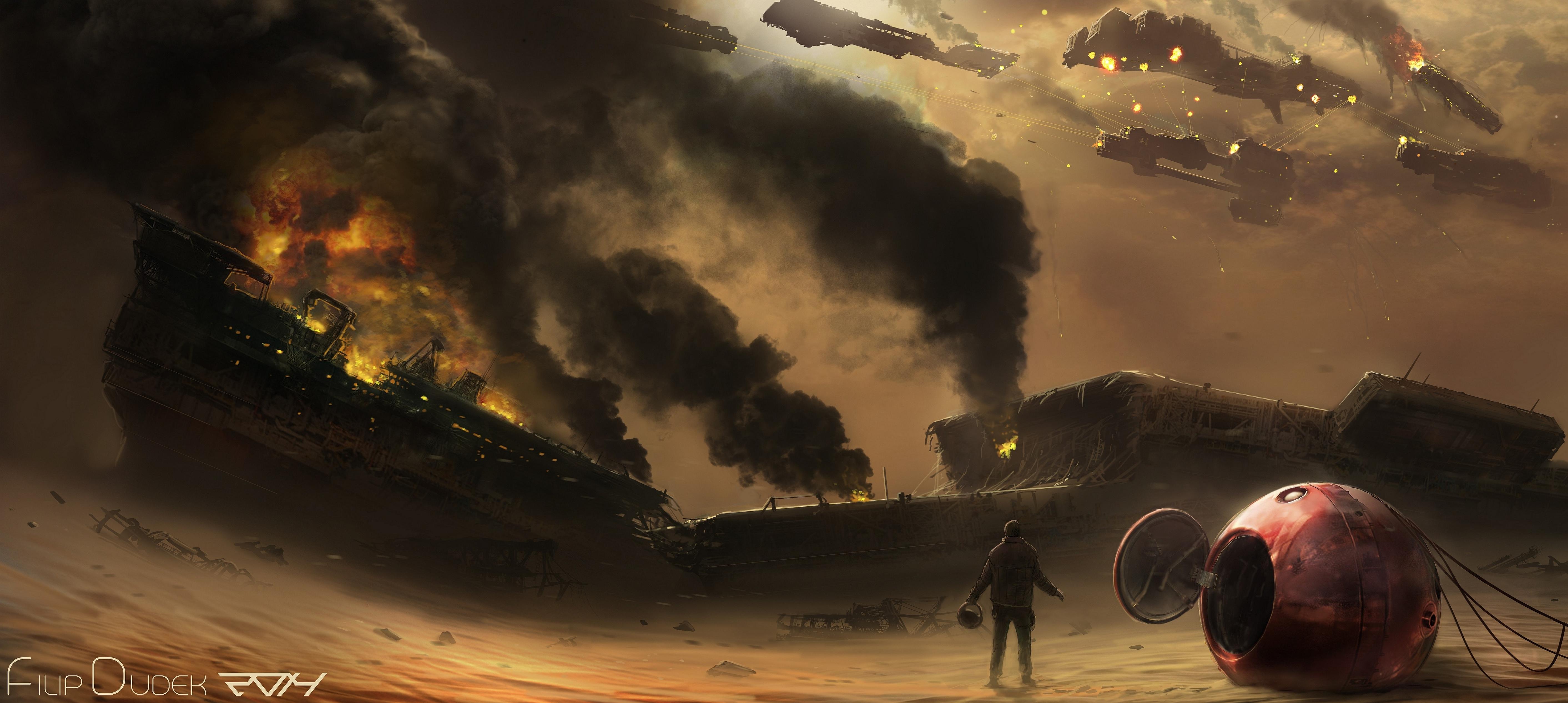 Sci Fi War Battle Ships HD Wallpaper Stylish HD 5650x2531