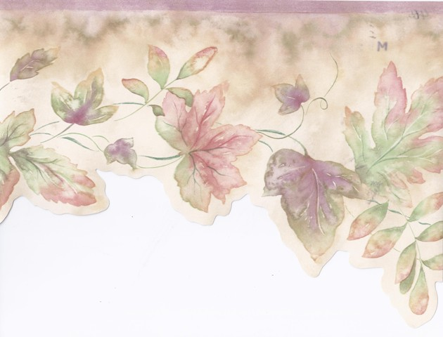 Pink Green Watercolor Leaves Wallpaper Border   Garden Floral 630x480