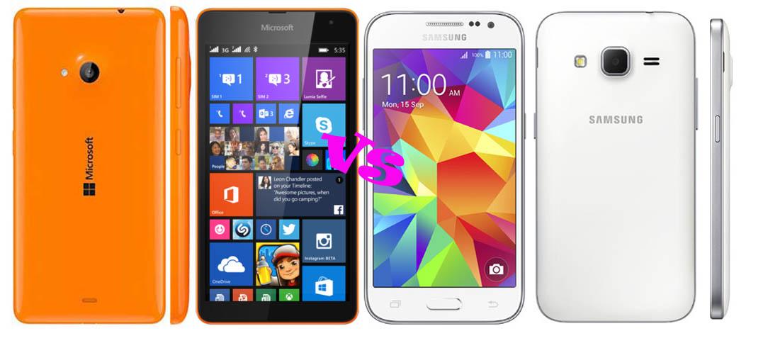 ... Perbandingan Microsoft Lumia 535 Dual SIM vs Samsung Galaxy Core Prime