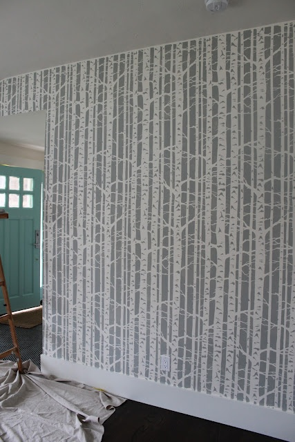 Love the tree stenciled wall Halls Walls and Floors Pinterest 427x640