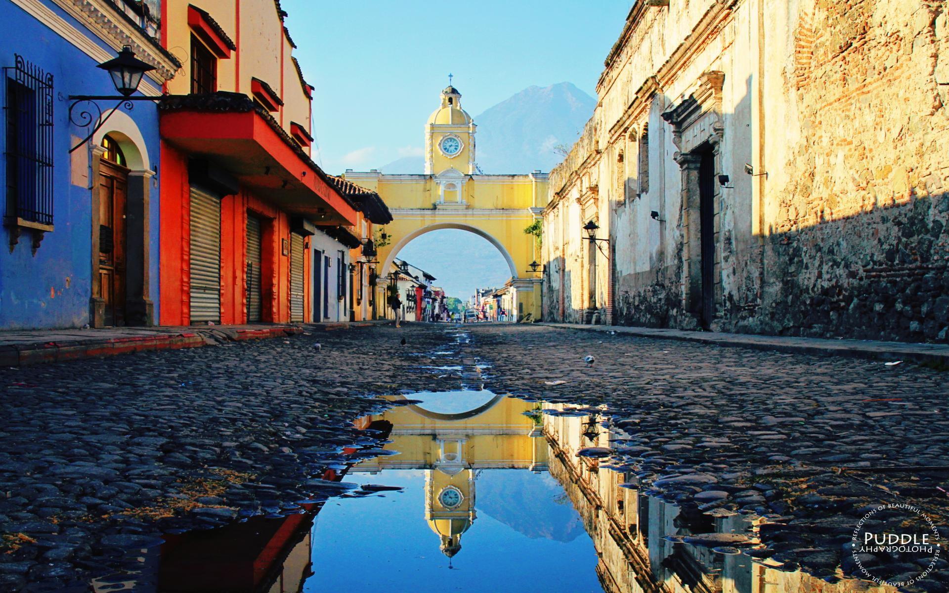 Gray concrete wall Guatemala South America town street HD 1920x1200