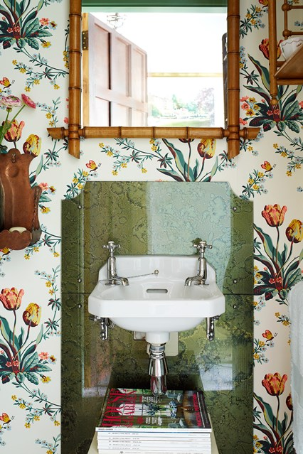 House Garden including this small bathroom with floral wallpaper 426x639