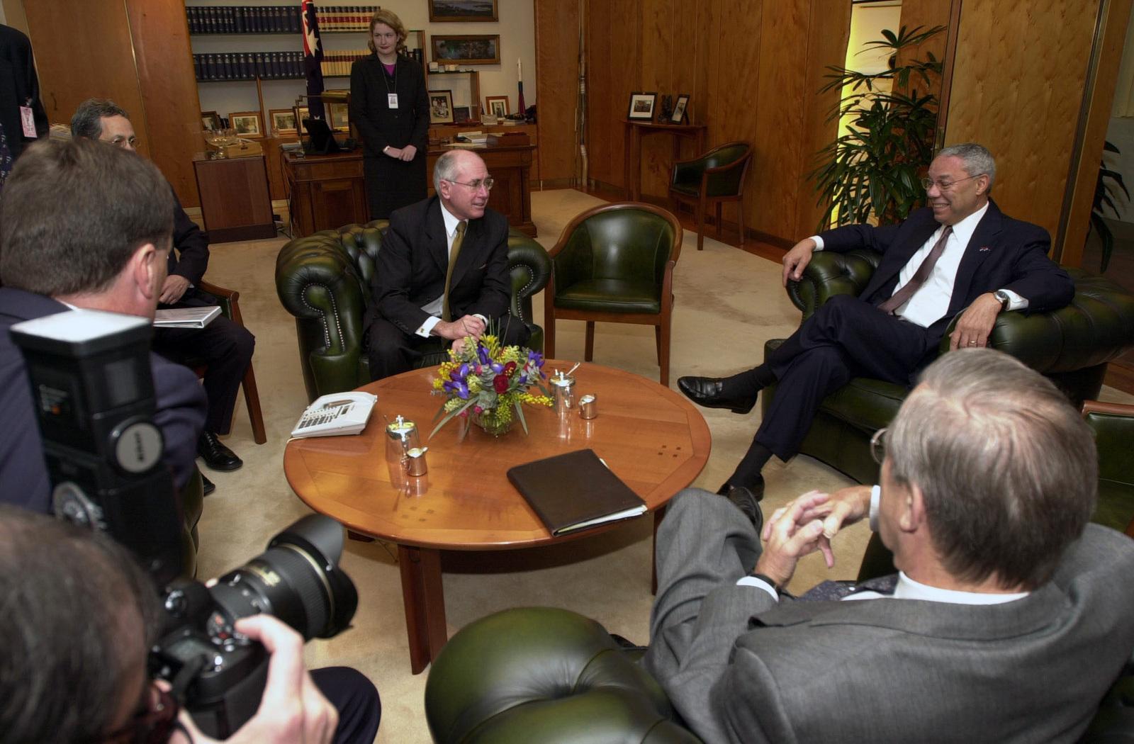 Australian Prime Minister John Howard seated background center 1600x1050