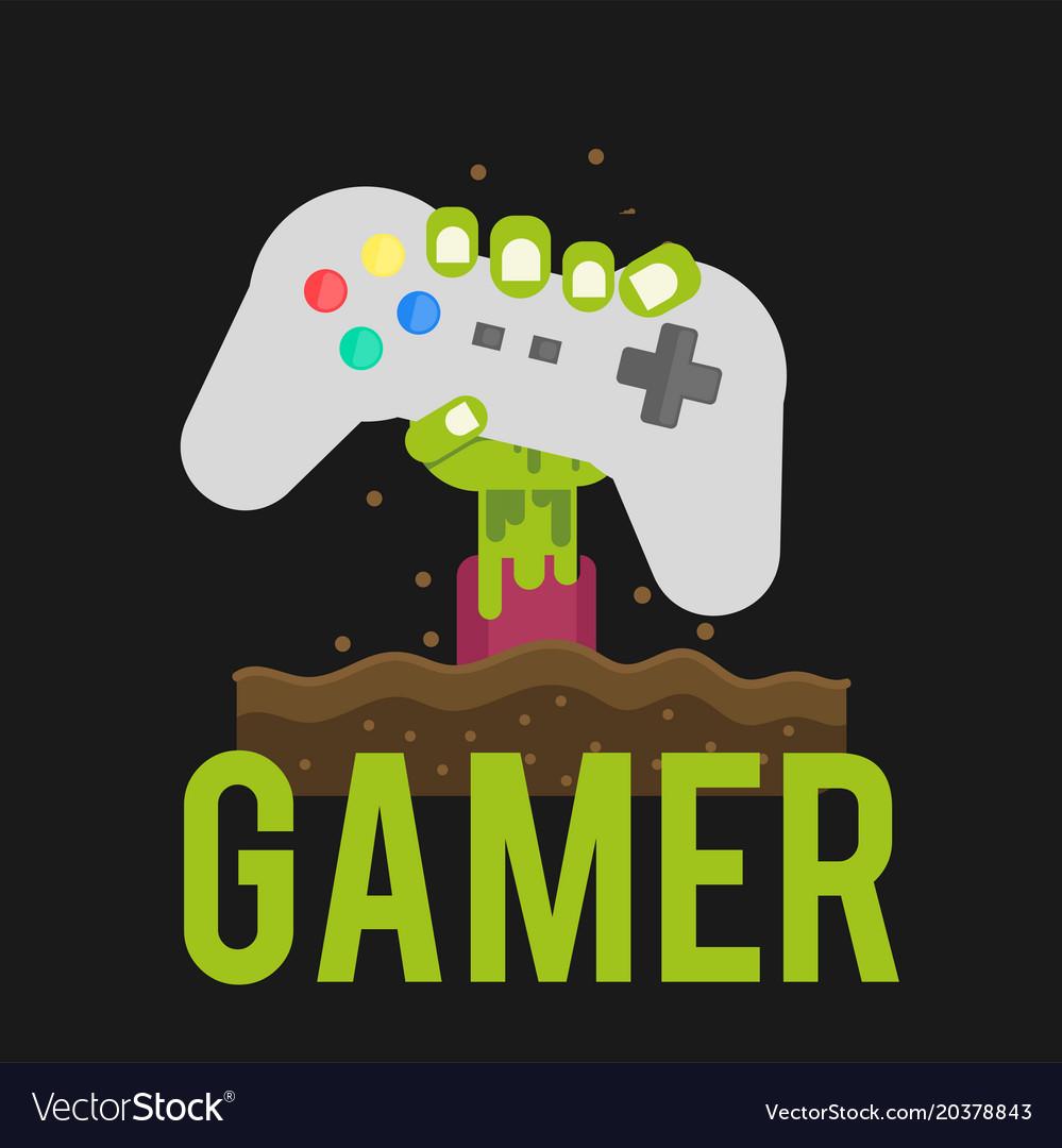 Gamer zombies hand holding joystick background vec 999x1080