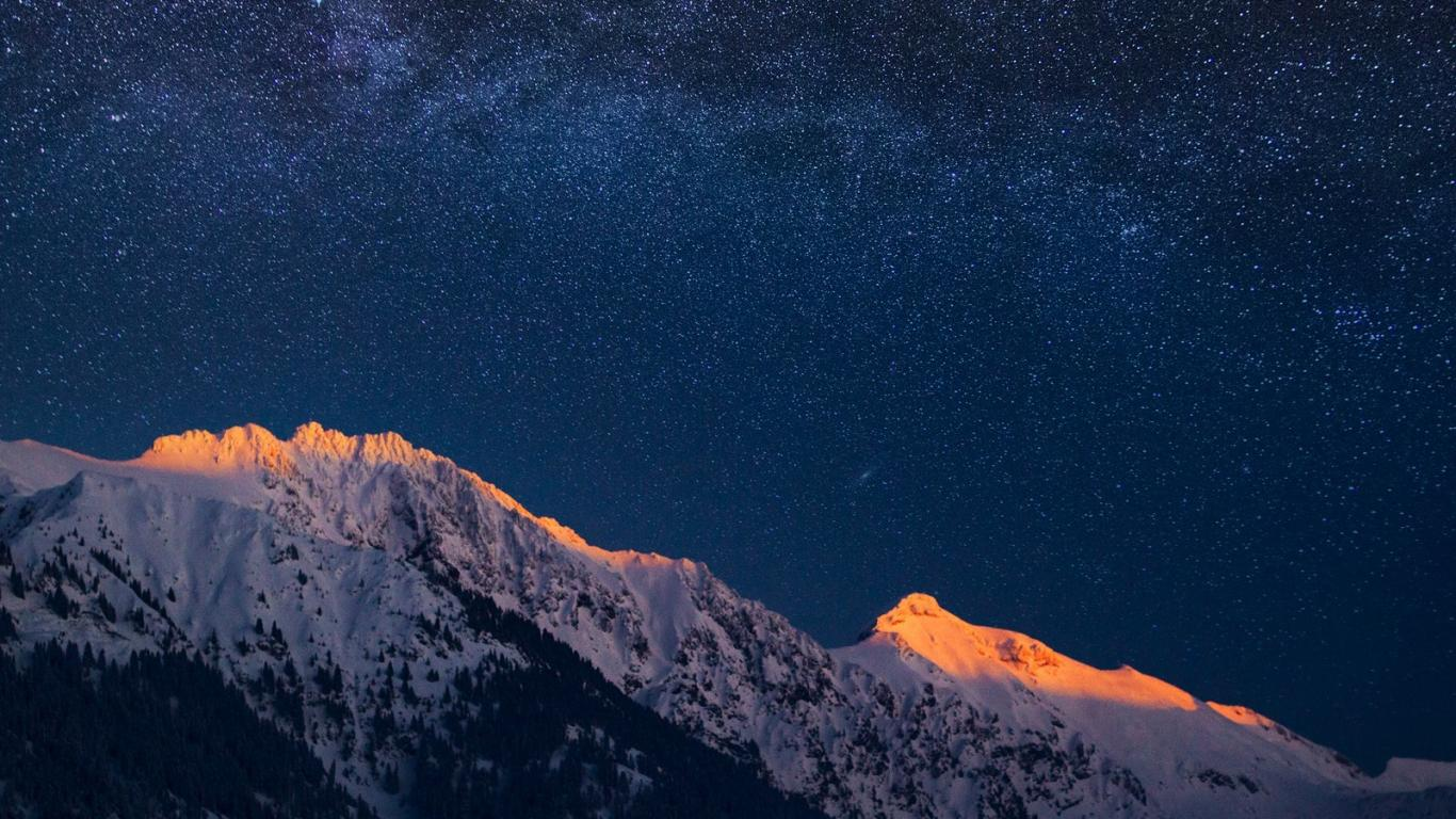 1366x768 mountain night stars - photo #42
