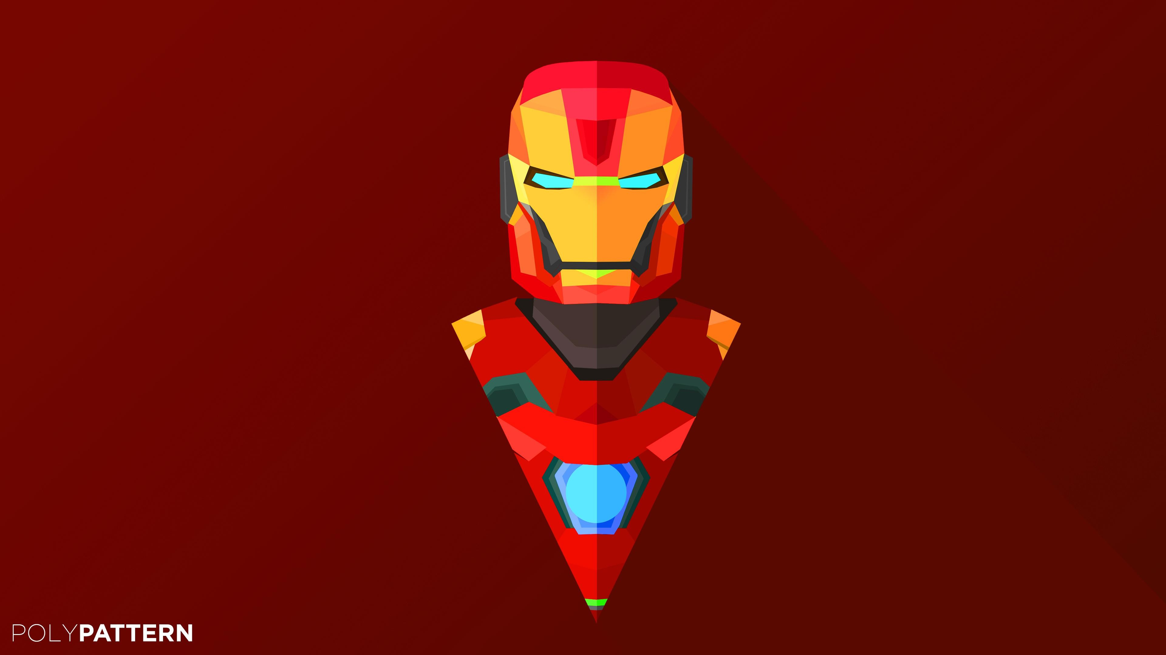 Wallpaper Iron Man abstract low poly minimalism 4k 5k iphone 3840x2160