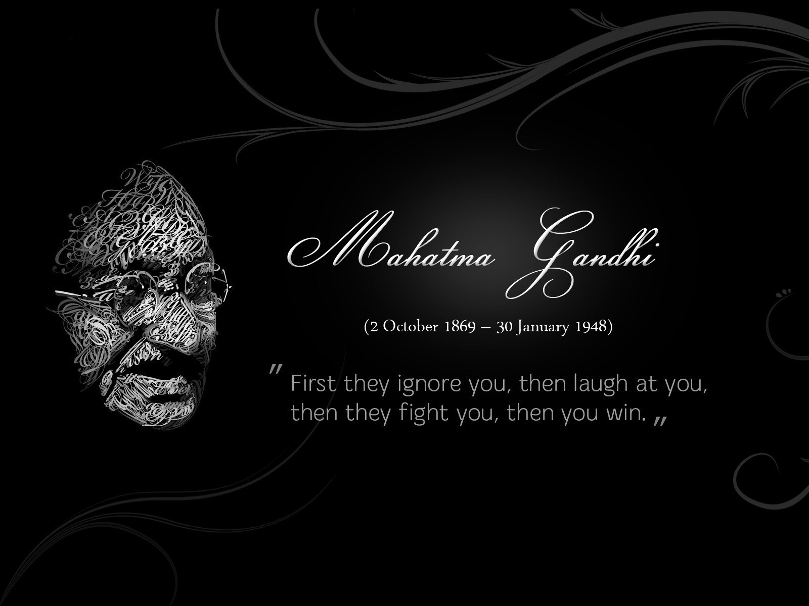 Mahatma Gandhi quotes with hd wallpaper 1600x1200