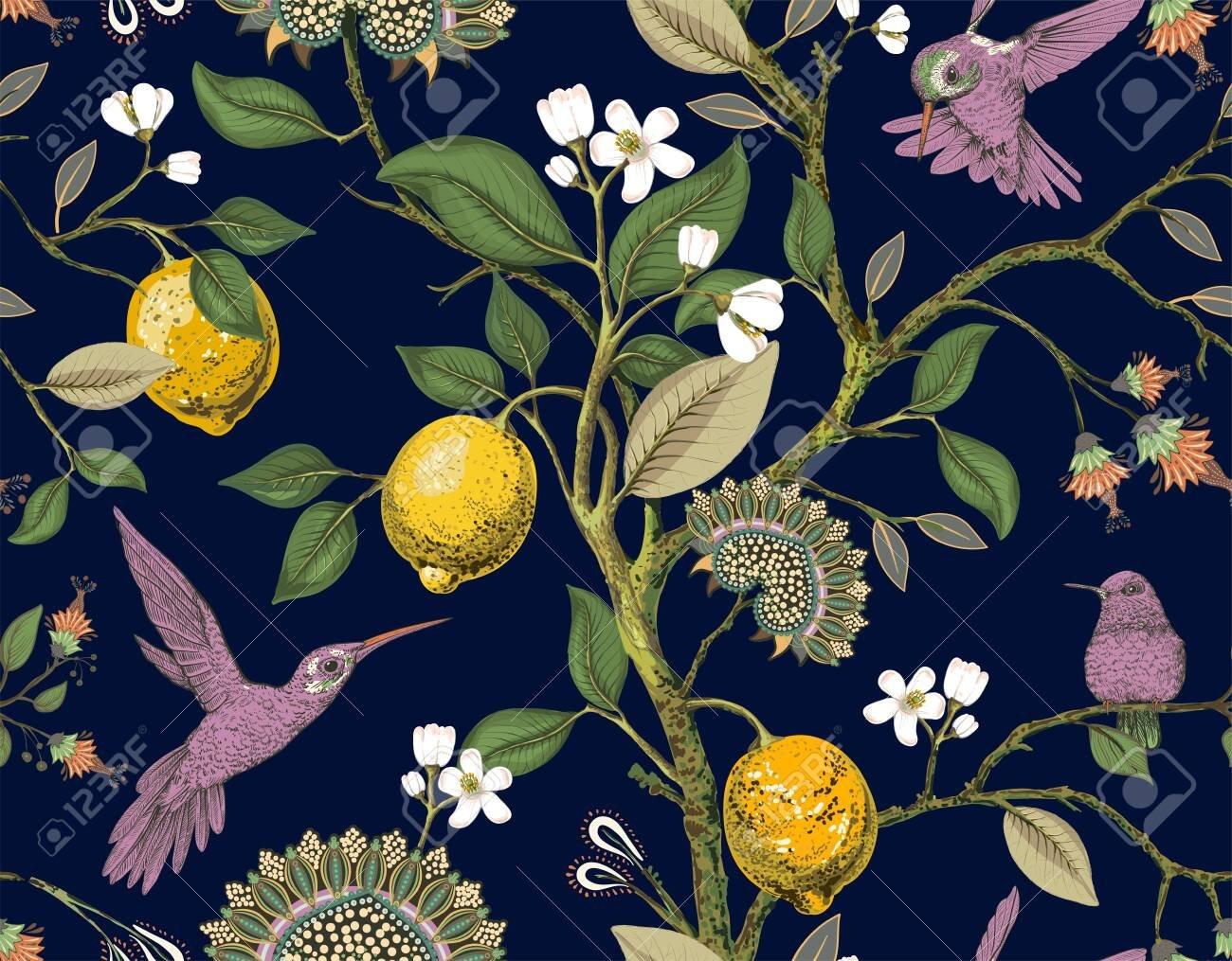 Floral Vector Seamless Pattern Botanical Wallpaper Plants 1300x1015