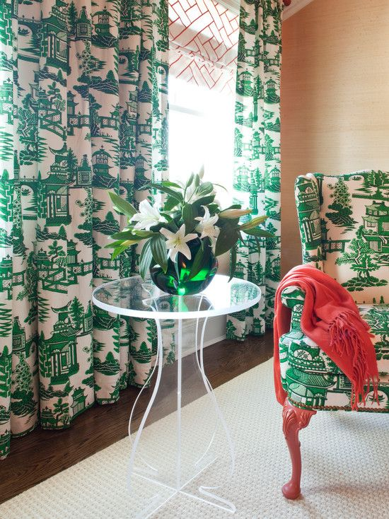 seating grasscloth wallpaper Chinoiserie fabric emerald green 550x734