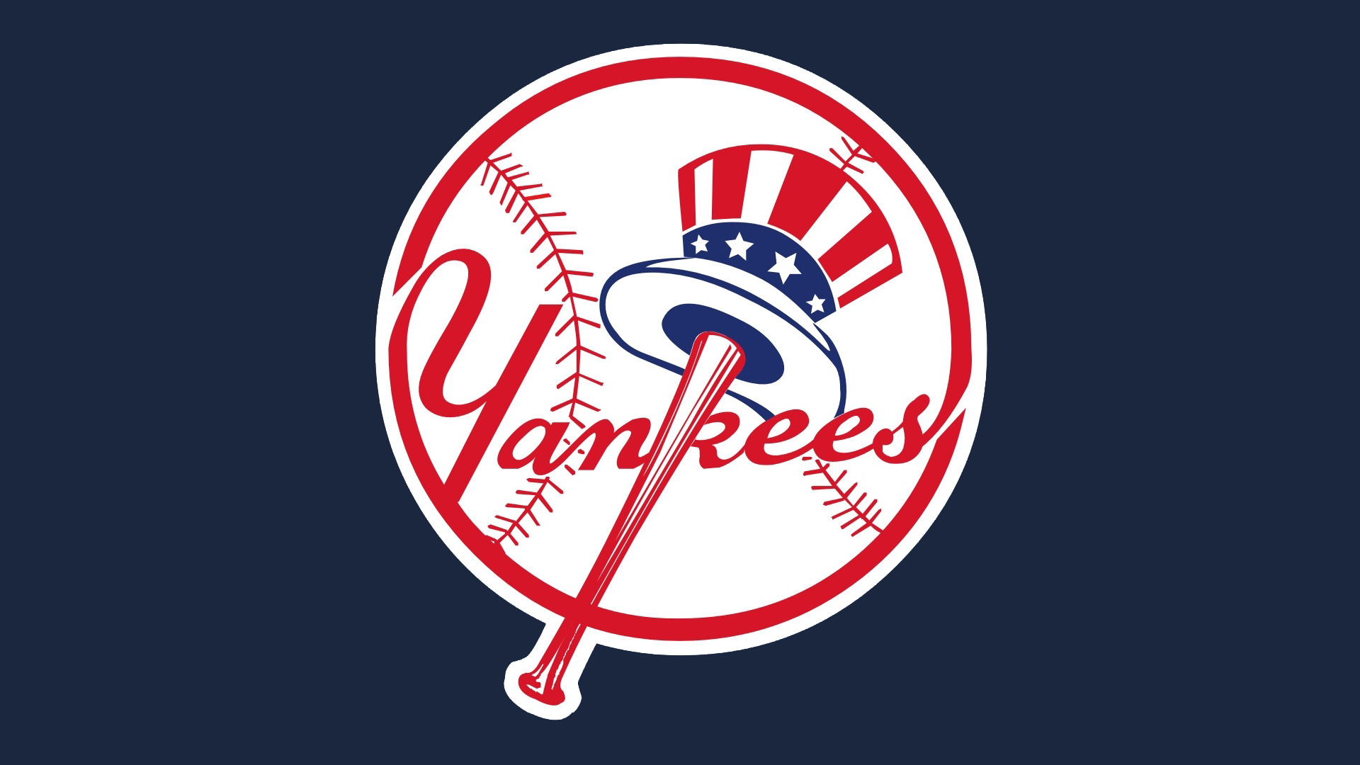MLB New York Yankees Ball And American Hat Logo 1920x1080 HD MLB 1920x1080