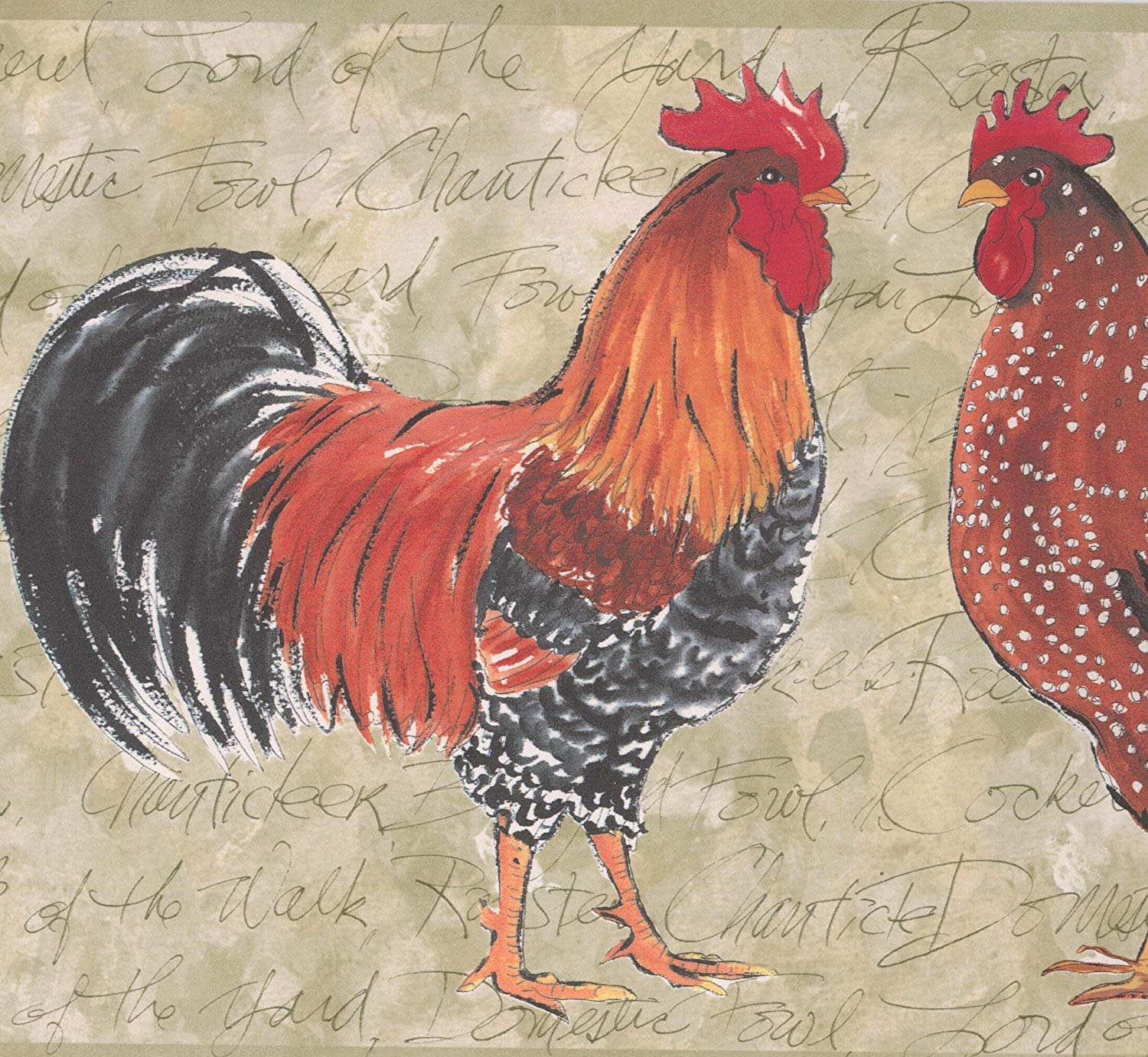 Colorful Roosters Grey Wallpaper Border Retro Design Roll 15 x 1500x1382