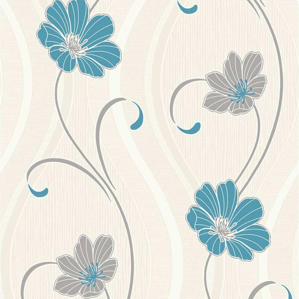 Teal Flower Wallpaper - WallpaperSafari