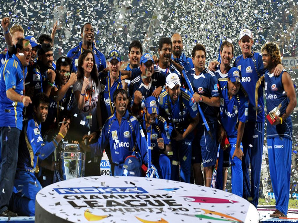 HD wallpaper cricket wallpapers mumbai indians with clt20 trophy 1024x768