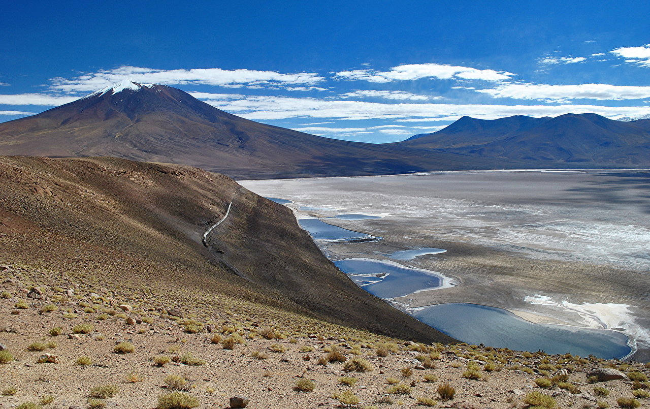 Images Bolivia Salar de Uyuni Altiplano Nature Mountains Lake 1280x805